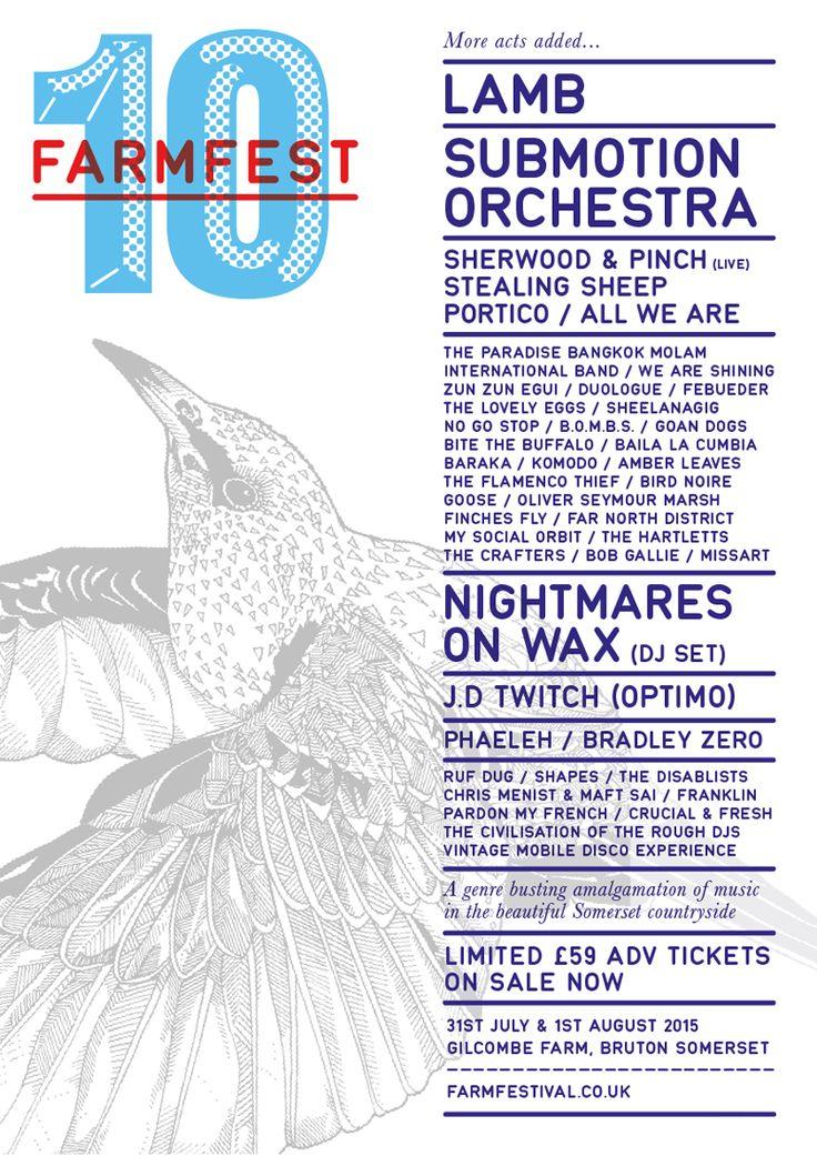 Farmfestival 2015 poster http://www.farmfestival.co.uk/   #bruton #illustration #rachelantonio #bird #birds #starling #swift #lamb #submotionorchestra #festival #poster #10 #farmfest #farmfestuk #farm #fest #nightmaresonwax #risograph