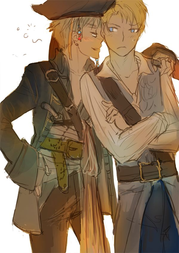 APH/Pirates of the Caribbean crossover for robinrocks and her request of drunk Jack Sparrow!Arthur hitting on a Will Turner!Alfred.  http://hukaka.livejournal.com