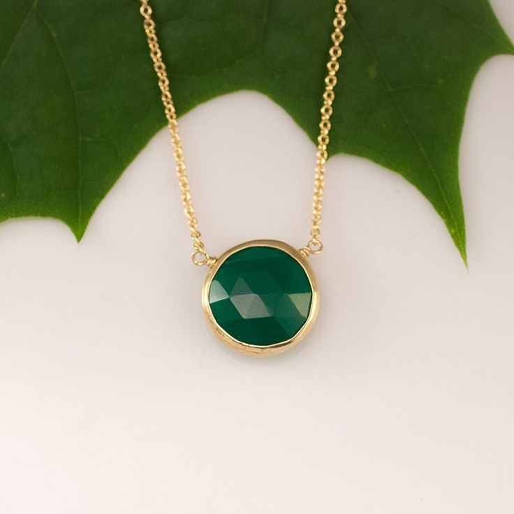 Green Onyx Necklace - Layering Necklace - bezel set necklace - gemstone necklace - Gold necklace - by delezhen on Etsy https://www.etsy.com/listing/153326246/green-onyx-necklace-layering-necklace
