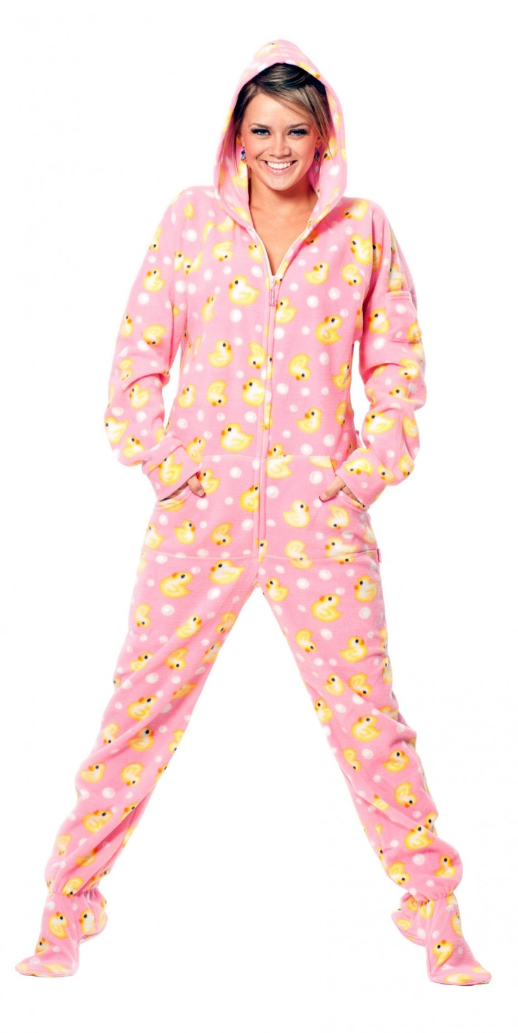 My cozy lounging winter style!   Pink Duckie - Drop Seat Hoodie - Pajamas Footie PJs Onesies One Piece Adult Pajamas - JumpinJammerz.com