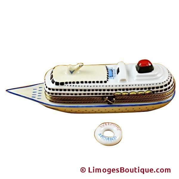 CRUISE SHIP WITH LIFEBUOY LIMOGES BOX