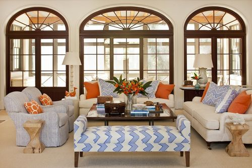 Bold colors but traditional styling: Decor, Ideas, Living Rooms, Furniture Arrangements, Window, Phoebe Howard, Colors Schemes, Beaches Houses, Families Rooms