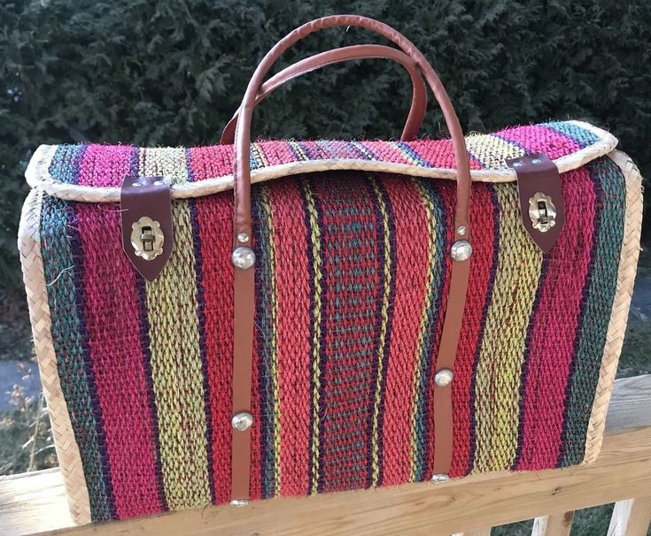 Ratan Oversized Beach Bag Straw Large Square Latches Vintage  | eBay