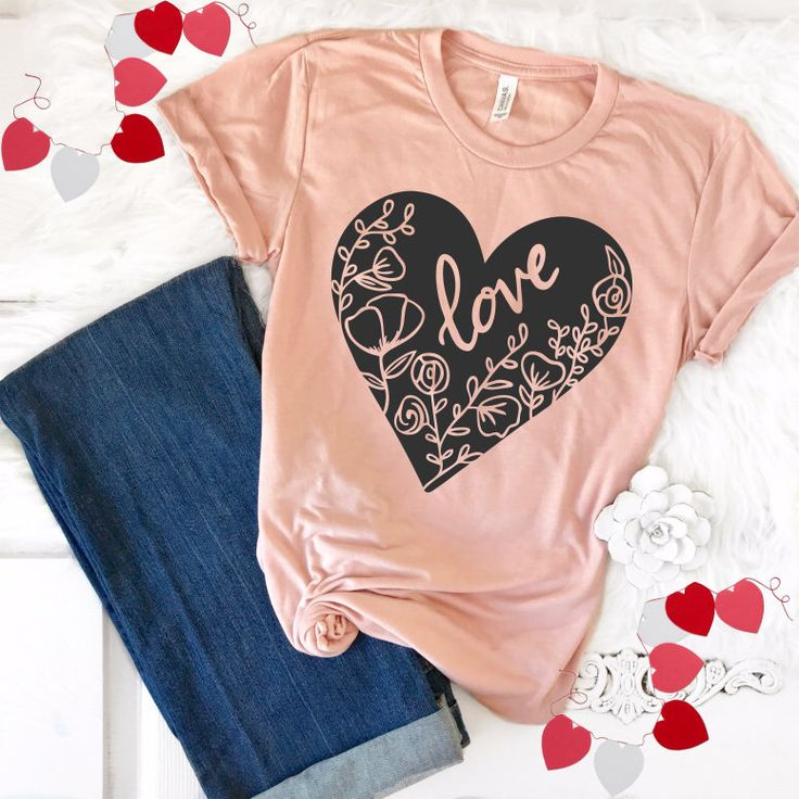 Valentins Day Love TShirt, Floral Love Heart Shirt, Heart Tee, Women's T-Shirts, Shirts for Her, Gifts for Moms, Pink Love Shirt