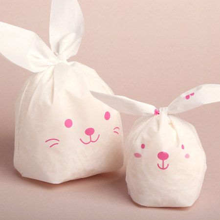 10 White Rabbit Plastic Bags (S) pink