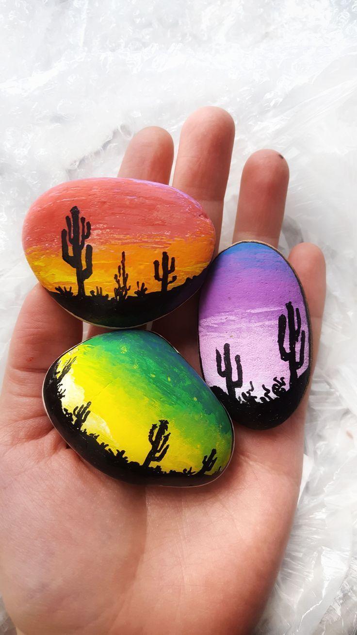 Felsmalideen für Anfänger. Einzigartige Kaktus-Designs zum Malen auf Felsen. …