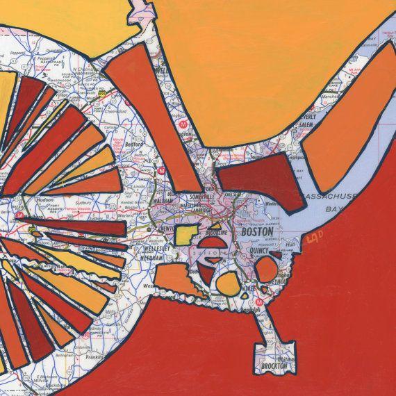 Bike Boston print -featuring Cambridge, Somerville, Watertown, Wellesley, Needham, Brockton,  Waltham-vintage bicycle art