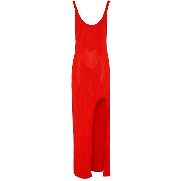 Barbara Bui Women's High Leg Slit Maxi Dress (7.470 ARS) ❤ liked on Polyvore featuring dresses, gowns, long dresses, red, orange, long red dress, red evening dresses, slit maxi dress and red dress