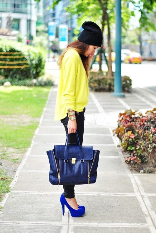 : Shoes, Outfits, Casual Style, Blue Bags, Neon Green, Cobalt Blue, Neon Colors, Blue Heels, Bold Colors