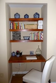 my coat closet turned desk nook diy - Small Kitchen Desk Ideas