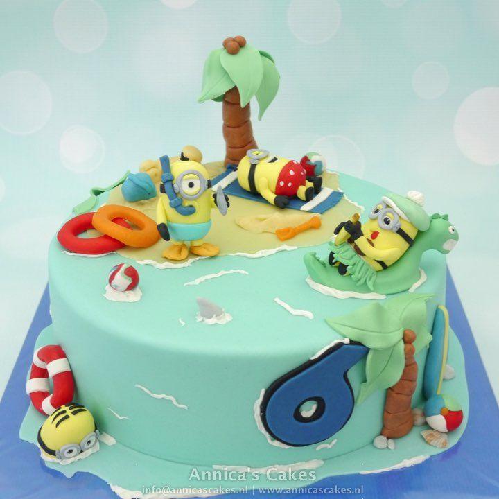 Minion beach cake Minion strand taart