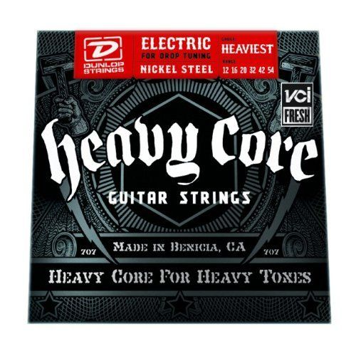 Dunlop Heavy Core Electric Guitar Strings - Heaviest Gauge by Jim Dunlop. Save 60 Off!. $3.81. Dunlop DHCN1254 Heavy Core electric guitar strings are perfect for drop tunings. Heavy Core strings use special core wire and proprietary wrap ratios to let you really dig in with your pick, while keeping a punchy low end, crisp mids, and silky highs, whether clean or overdriven. Dunlop manufactures Heavy Core strings at their Benicia, California plant, and exercises obsessive attention t...
