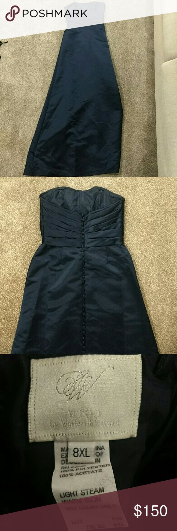 Classic Navy blue bridesmaid dress Bought this for my brother's wedding, wore it once! If you're tall, it'd be perfect for bridesmaid dress or even a more formal event or wedding. Size 8 extra long. David's Bridal Dresses Wedding