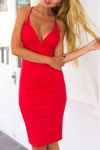 Sexy Spaghetti Strap Women's Backless Bodycon Dress Club Dresses | RoseGal.com