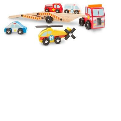 Melissa & Doug Wooden Emergency Vehicle Carrier Truck With 1 Truck and 4 Rescue Vehicles