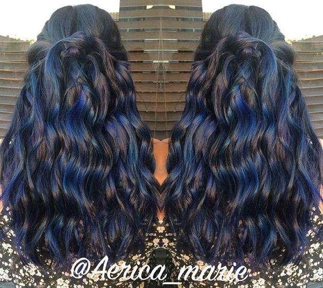 Darkest brown hair color with shades of blue by Aerica Marie. HOT Beauty Magazine facebook.com/hotbeautymagazine