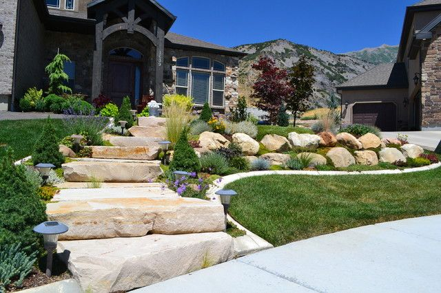 Boulder mountain stone steps front yard landscaping with rocks enchanting gardens and - Mountain garden landscaping ideas ...
