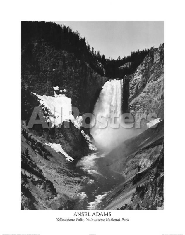 Ansel Adams Yellowstone Falls Park Art Print POSTER by Claude Monet Landscapes Poster - 56 x 71 cm