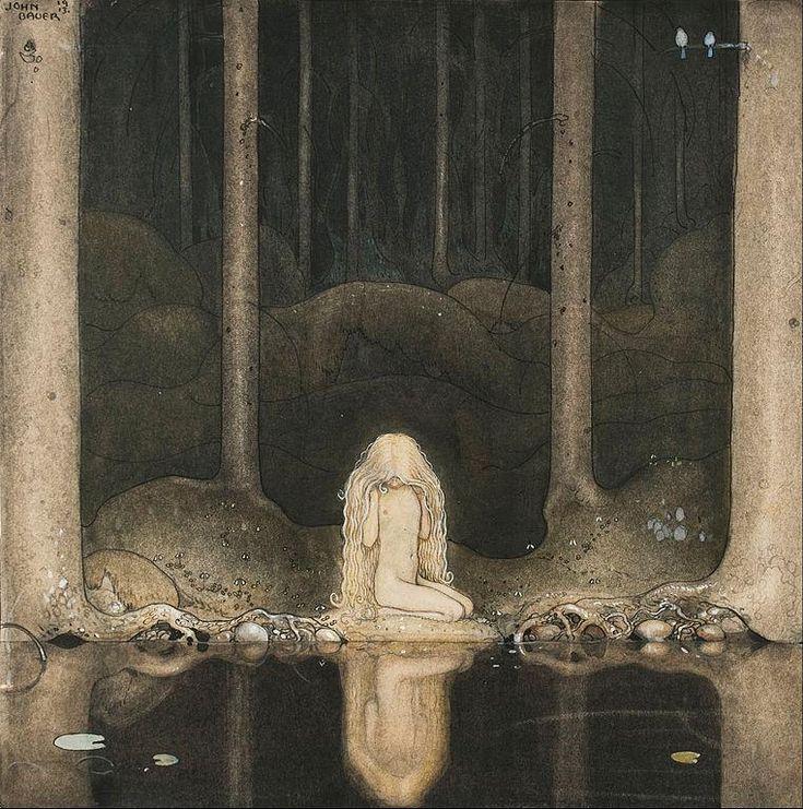 John Bauerヨン・バウエル(1882ー1918)「森の暗い沼を見つめる妖精姫」