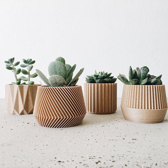 Set Of 4 Small Indoor Planters Original Planter Gift Planter
