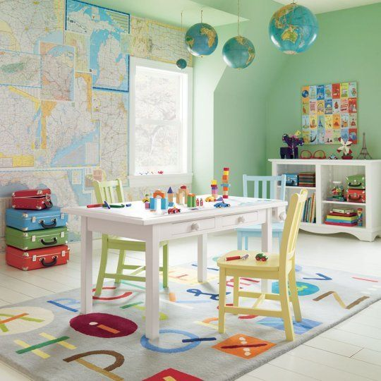 Love the maps on the playroom wall. DIY potential.