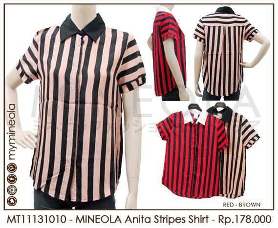 MINEOLA Anita Stripes Shirt brown. Rp.178.000,- Fabrics: Satin. Bust: 98cm - Length: 69cm - Waist: 100cm - Sleeve: 17cm  Also available in brown color. Product code: MT11131010  #MINEOLA #myMINEOLA #iWearMINEOLA #Fashion #OnlineShop #Indonesia #Jakarta #Dress #Blouse #Top #Pants #Skirt