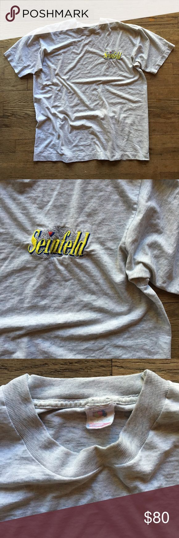 90s Vintage Extremely Thin Seinfeld Grey T-Shirt Vintage Fruit of the Loom Seinfeld shirt - Super thin & soft worn in fabric - 100% cotton - Made in USA - In Rad authentic vintage condition - Shoulder to shoulder: 21 in // Length: 28 in Fruit of the Loom Tops Tees - Short Sleeve