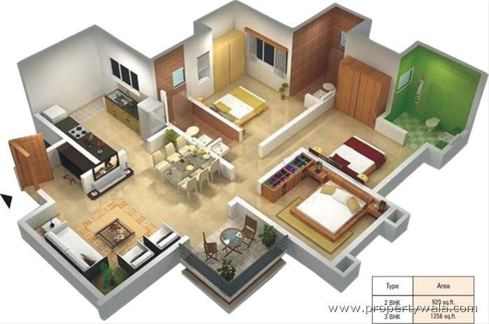 1000 Images About 3d Housing Plans Layouts On Pinterest 3d Rendering One Bedroom And 3d Design
