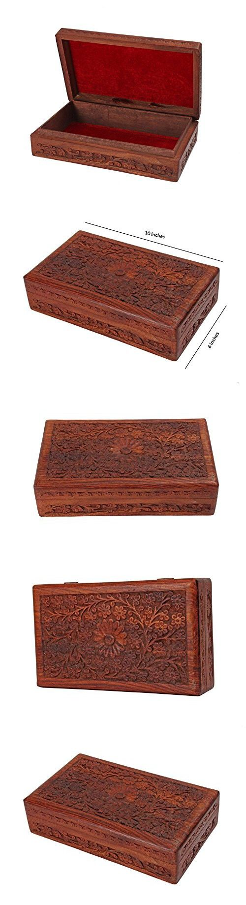"Rakhi Gift for Sister Intricate Wooden Jewelry Box Organizer - 10 x 6"" Handcrafted - Multipurpose Keepsake Storage Chest"