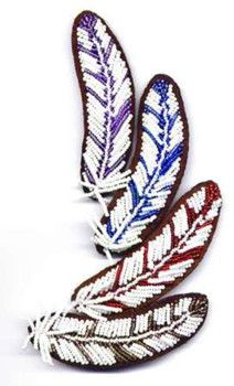 beading patterns | Make your own Beaded Feather on Leather Barrette!The Pattern is a 5 ...