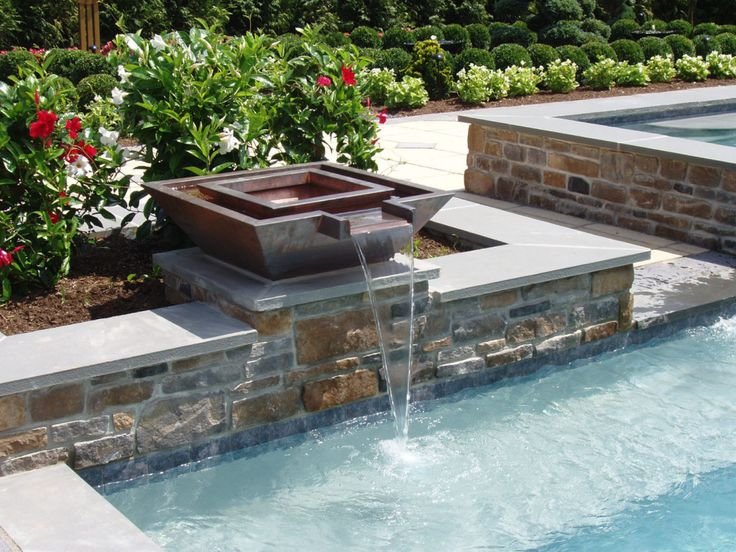 concrete geometric pool with water features - Rectangle Pool With Water Feature