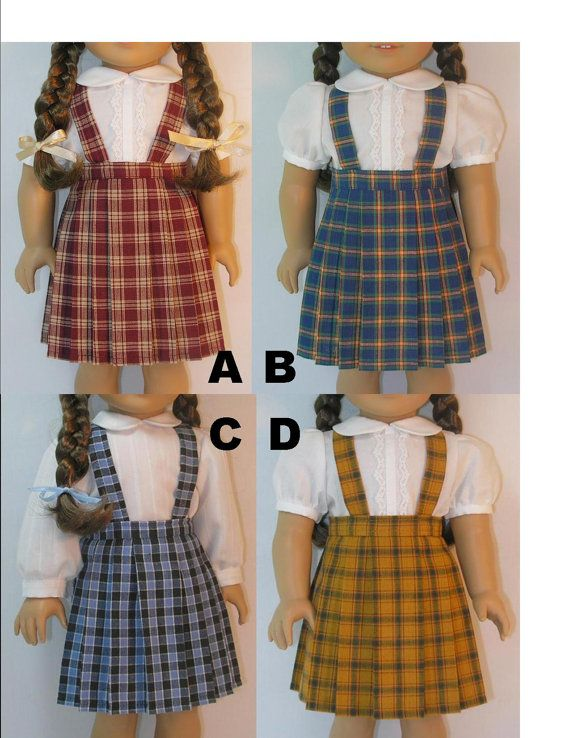 1944-1069 Plaid Pleated Skirt with Suspenders for Molly, Emily, American Girl 18 Inch Doll