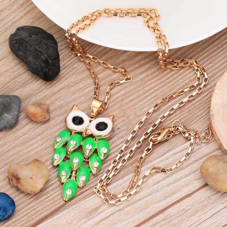 Дизайн бренда выдалбливают зеленый хрустальная сова ожерелье ретро горный хрусталь ожерелье мода женщины ювелирные изделиякупить в магазине Five Star Outlet наAliExpress