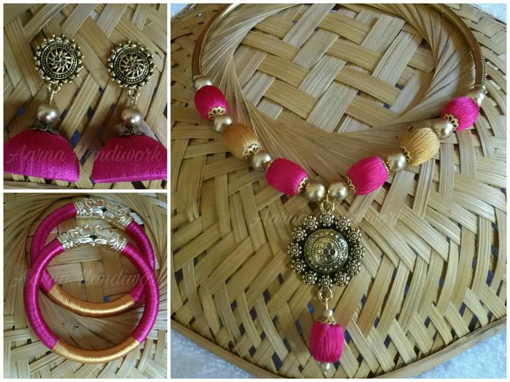 Pink,Gold beads with Antique Gold Pendant Set