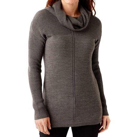 SmartWool Larkslope Tunic Sweater - Merino Wool (For Women) in Taupe Heather