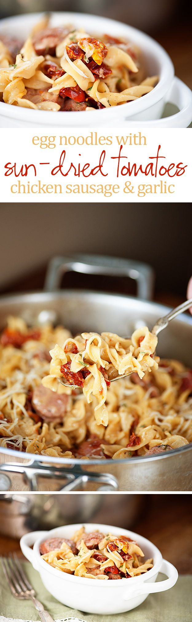 Sun-Dried Tomatoes with Egg Noodles and Chicken Sausage...perfect comfort food for a chilly evening and ready in 30 minutes!