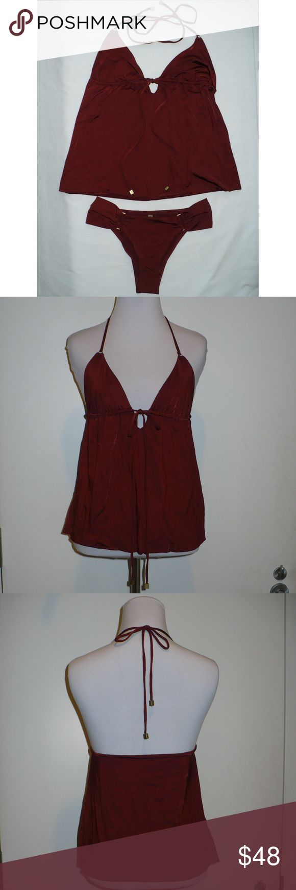 Vitamin A Bronze-tone Hardware Rust Brown Tankini NOT USED, Irregular w/defects Guaranteed Authentic  Selling separates as one tankini Top Size S: MSRP $120 Bottom Size M: MSRP $99 MSRP (total): $219  Review all photos carefully as they are considered part of the Item Description Discoloration at crotch from crotch protector sticker adhesive. Managed to wash almost all of the residue Very slight discoloration at left backside of bottom (hard to capture)   Material Content 91% Nylon 9% Lycra…