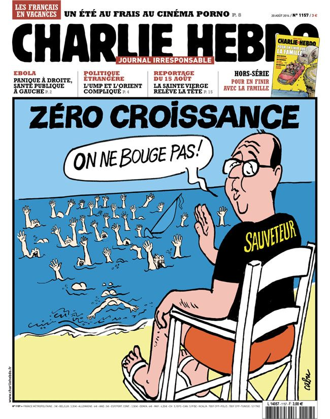 Charlie-Hebdo - semaine du 20 aout 2014 #satire #caricature #politique #parodie #croissance #Hollande #bouillon