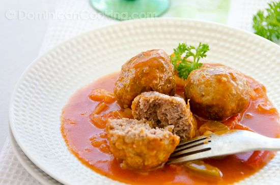 Dominican Meatballs~I made these~delicious! Used my le Creuset.