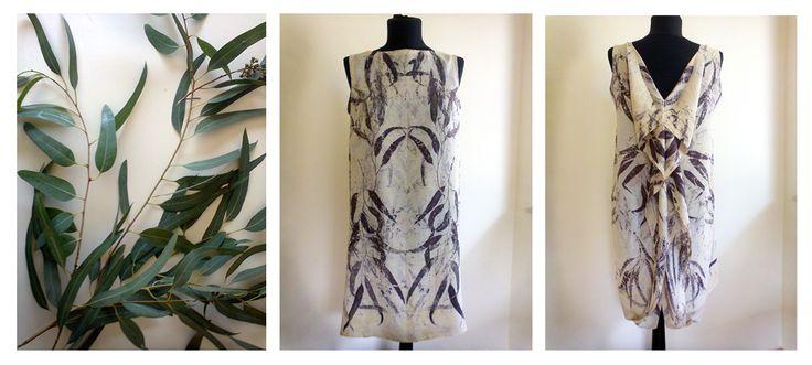 Eucalyptus camaldulensis prints on silk