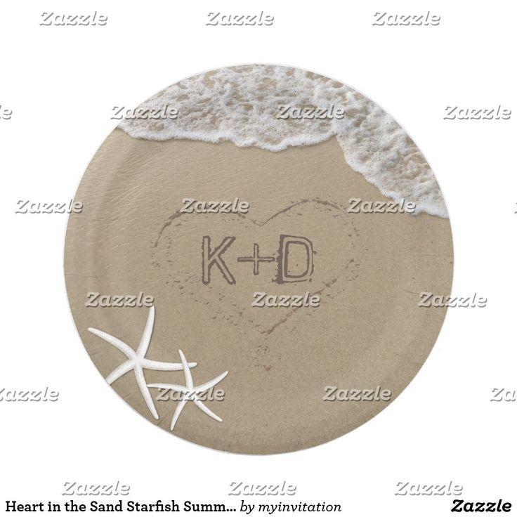 Heart in the Sand Starfish Summer Beach Wedding Paper Plate Heart in the Sand Starfish Summer Beach Wedding Paper Plates.