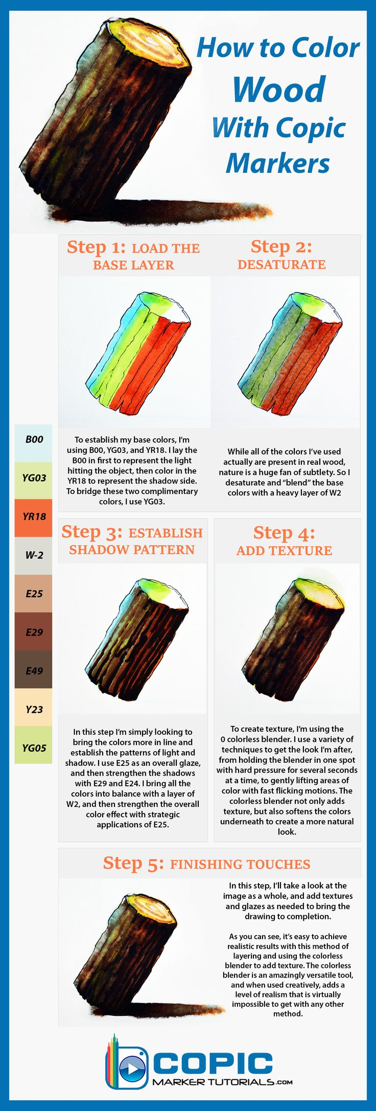 Rendering Textures With Copic Markers - How to Color Wood                                                                                                                                                      More