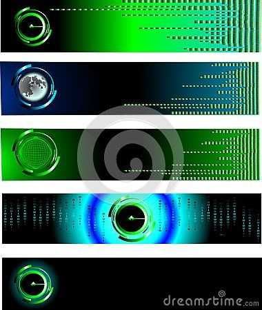 Vector technology Banner set with green squares and Moon.