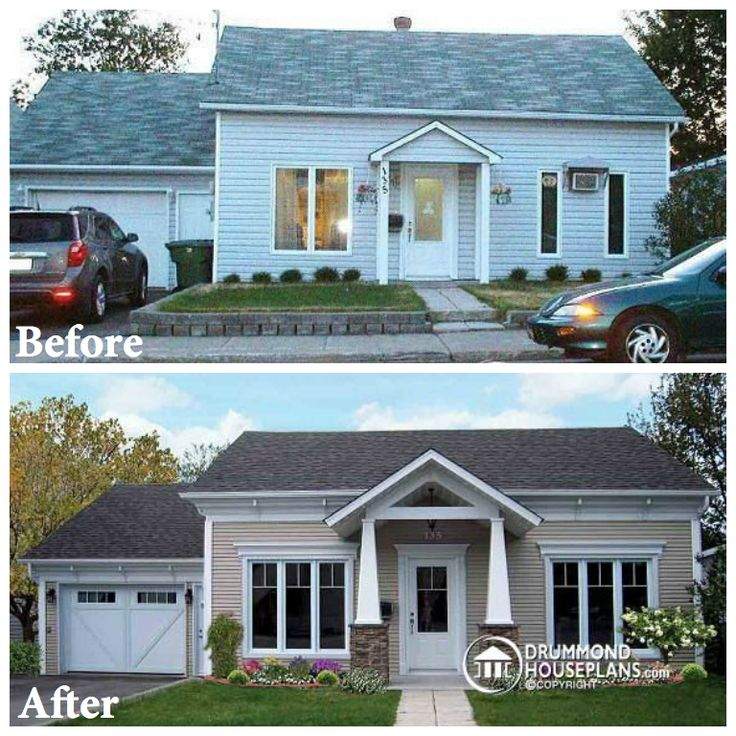 Renovation plan designed by DrummondHousePlans.com Need of the owners : home exterior makeoever. Construction-cost : 55,000$. http://www.drummondhouseplans.com/renovation-plan-detail/info/1000130.html #renovation #plan #houseplan #american #designs