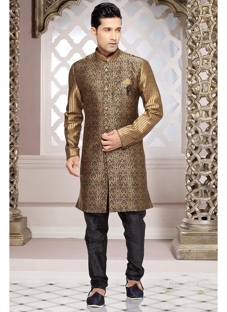 Image result for metallic gold brocade sherwani