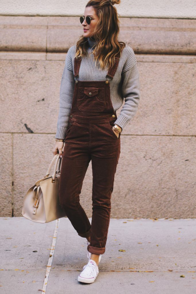 brown corduroy skinny overalls