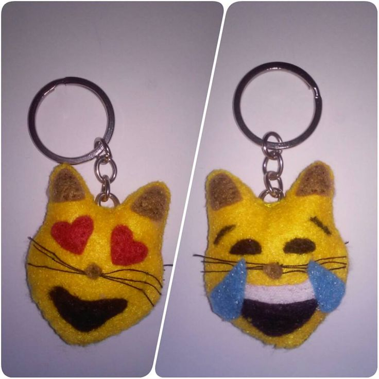 Llavero gato-whatsap reversible. #Fieltro