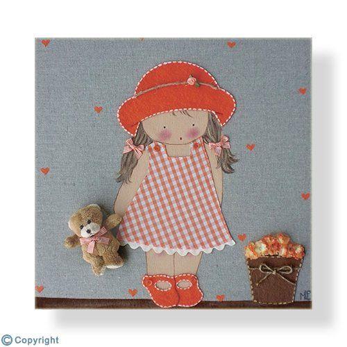 Cuadro infantil personalizado: Niña con sombrero (ref. 12009-05)