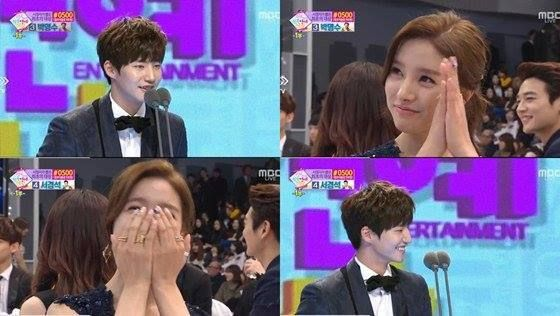 Kim So Eun when Song Jae Rim won the Rookie Award