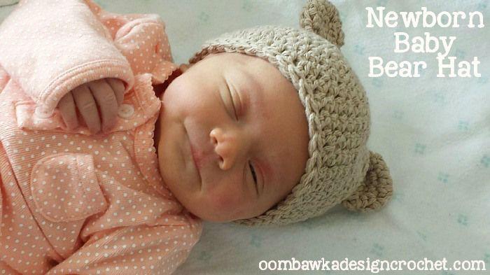 Myas Newborn Baby Bear Hat, #crochet, free pattern, #haken, gratis patroon (Engels), baby, muts, berenmuts met oren